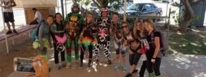 Group skydiving photo