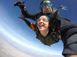 Tandem skydiving with instructor